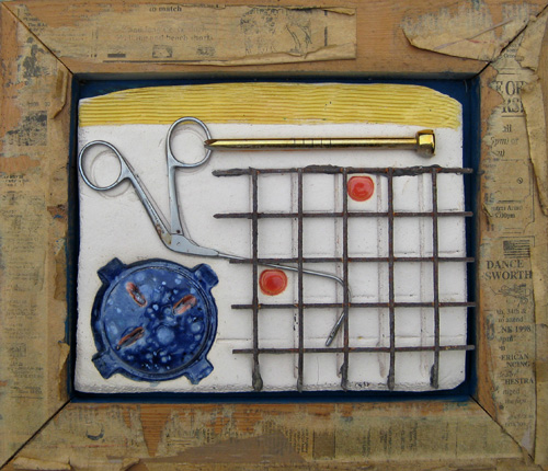 Created from found objects, glazed ceramic