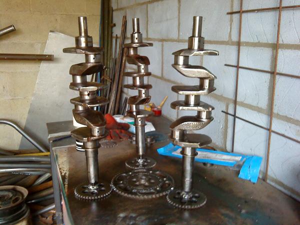 Scrap crankshafts and cogs - workshop