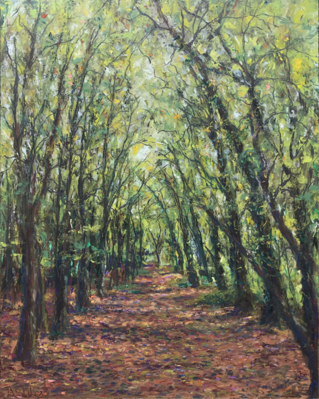 Wandlebury Path cold wax painting