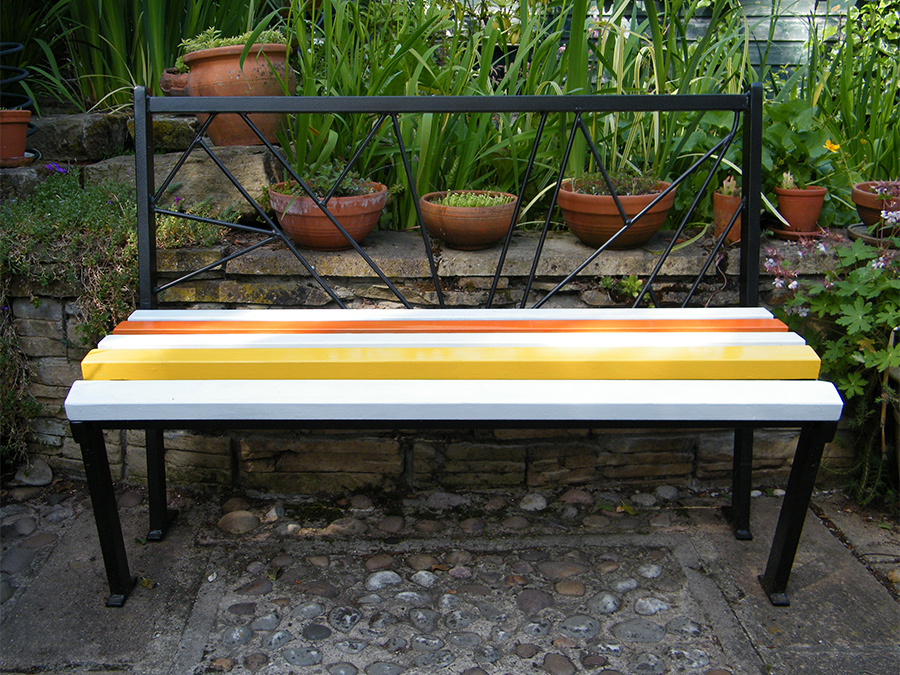 Art Deco Bench - Metal garden bench