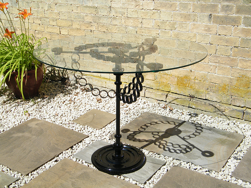 Circadian Glass Table viewed on patio
