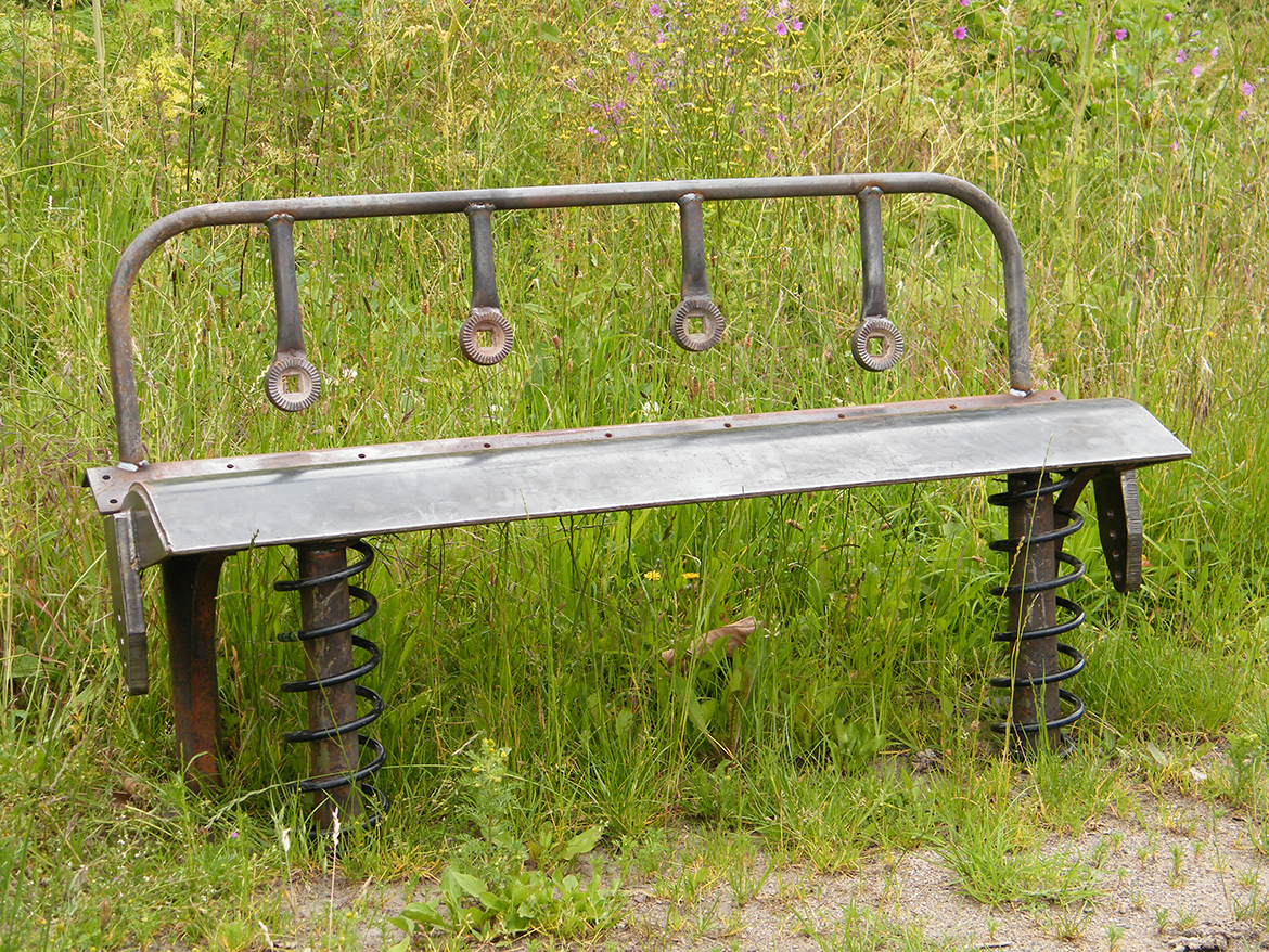 Bomford Bench - Bomford bench created from Bomford flail skid, New Holland Combine dividers
