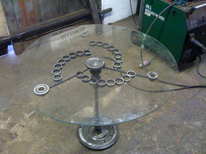 Circadian Glass Table in workshop
