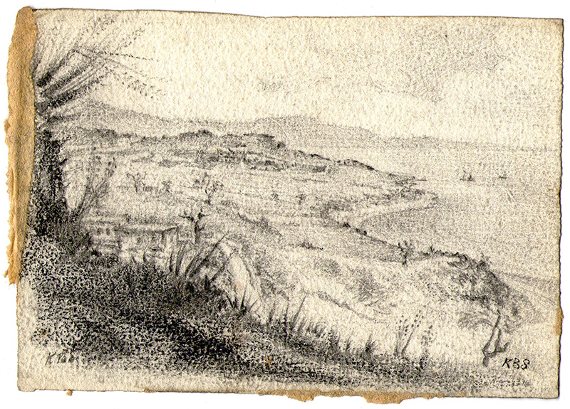 Pencil sketch of the Narrows Dardanelles Dardanos fort, 1919