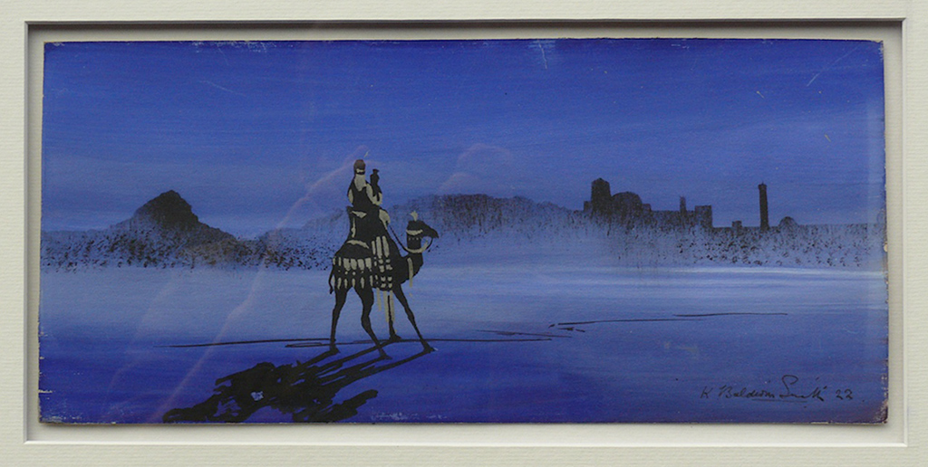 Painting depicting desert night scene with camel by Kenneth Baldwin Smith ARCA