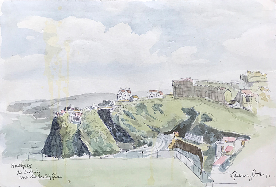 Watercolour of Newquay, Cornwall by Kenneth Baldwin-Smith ARCA