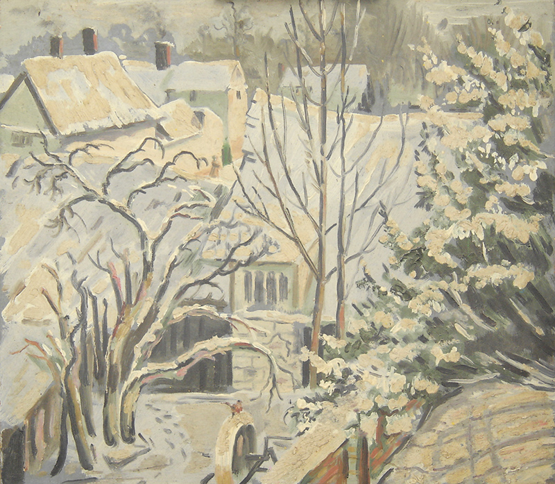 Shelford in snow - 0il painting