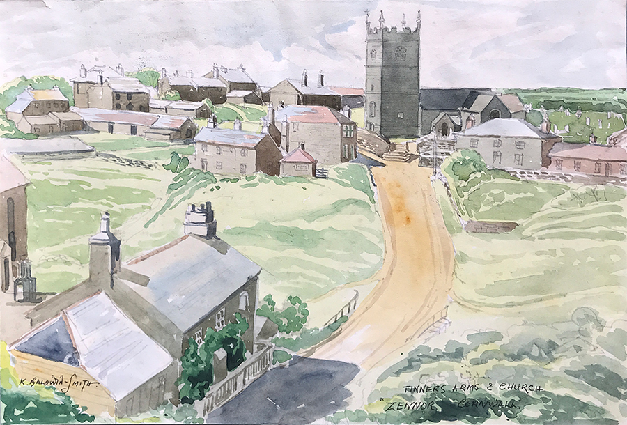 Watercolour of Zennor, Cornwall by Kenneth Baldwin-Smith ARCA