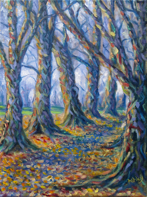 Oil painting Autumn Avenue