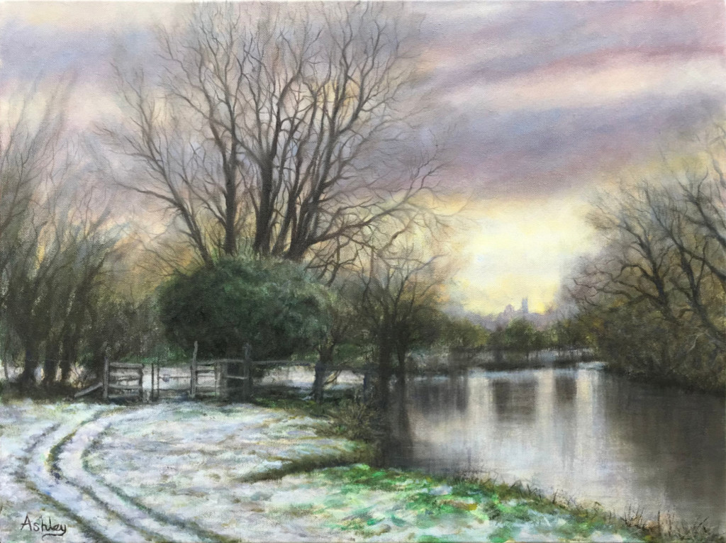 Snowscape painting, February Snow, Grantchester