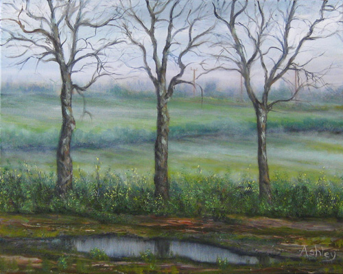 Oil painting Fen Mist near Benwick