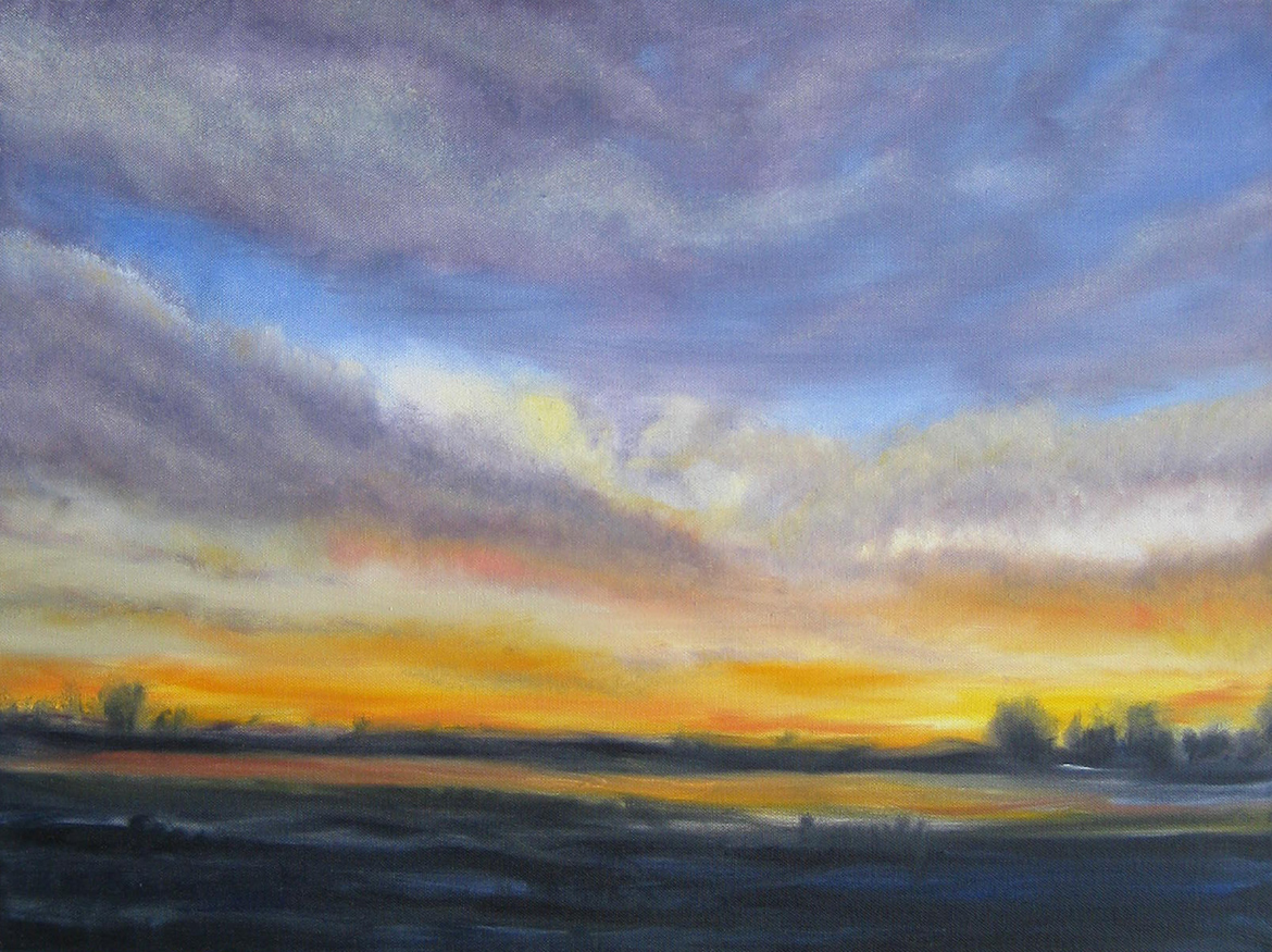 Oil painting - Sunrise on the fens