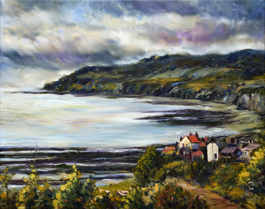 View of Robin Hoods Bay, oil on canvas
