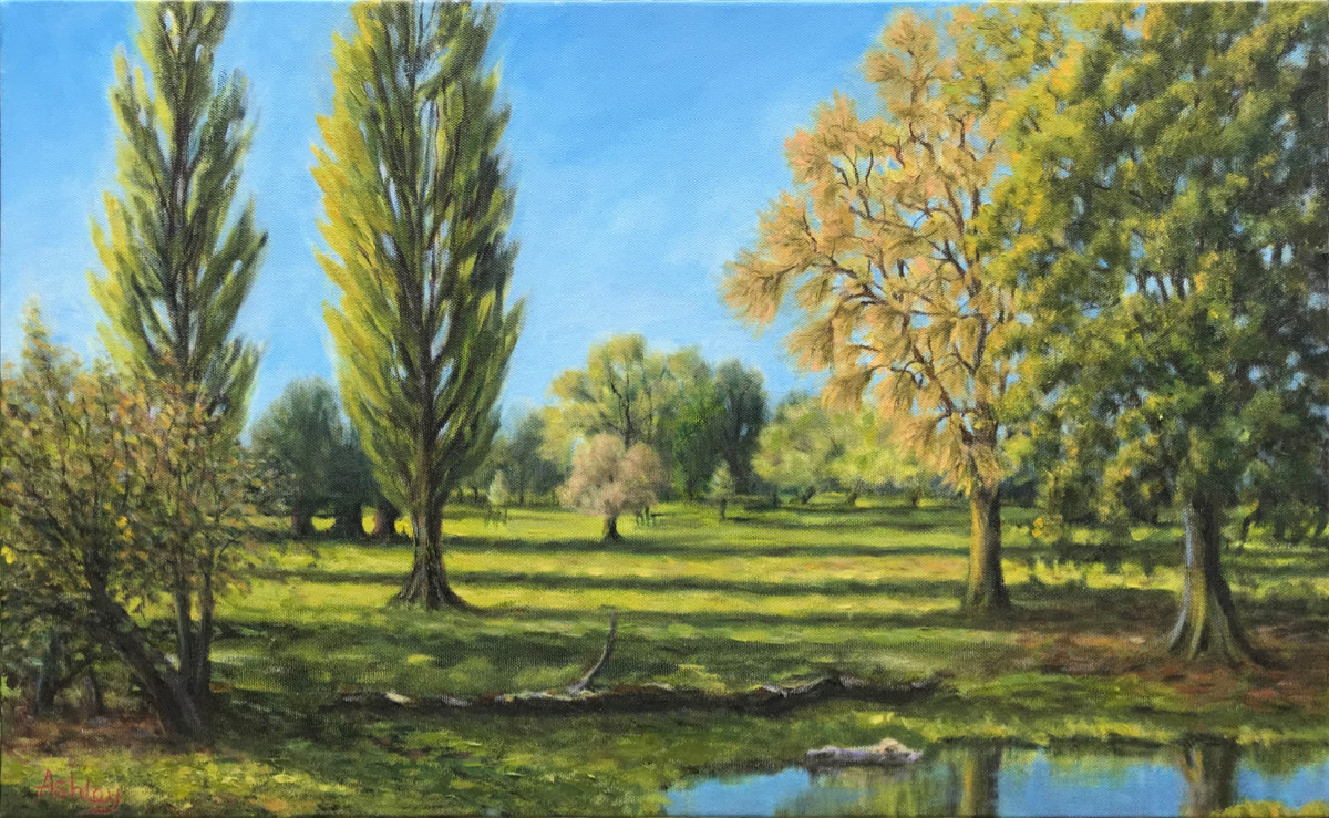 Landscape painting, Sheeps Green, Morning Sun