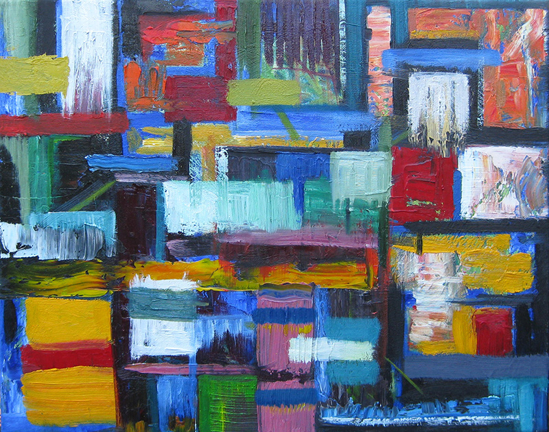 Abstract oil painting - Street Walk
