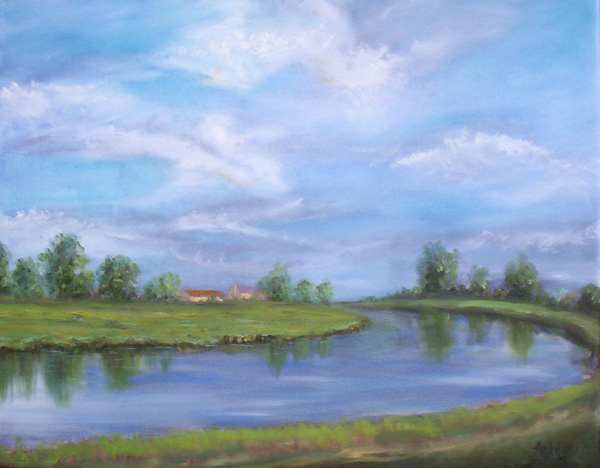 Oil painting Ten Mile Bank Viewed from Brandon Creek