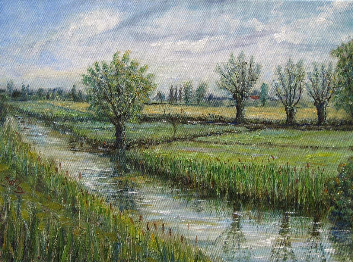 Oil painting A wet morning in the fens