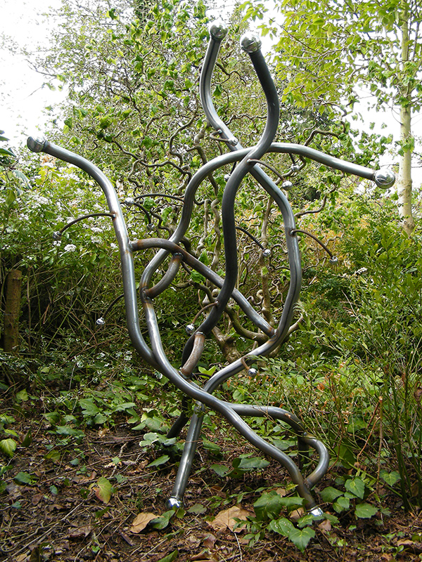 Metal sculpture titled Contorta viewed against a backdrop of Corkscrew Hazel