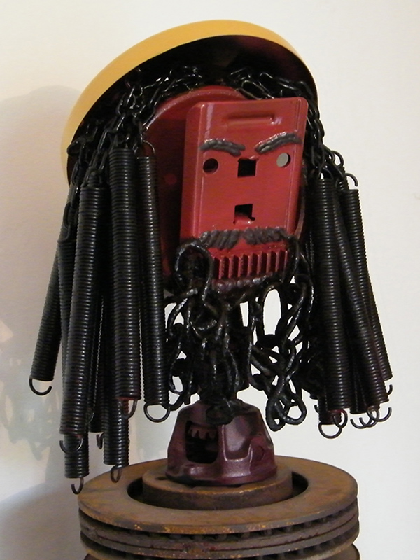 Yellow Hat - Recycled Metal Sculpture